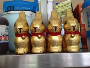 4 big Lindt gold bunnies. 4!!