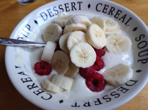 Greek yogurt with protein powder, raspberries & a banana