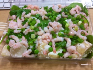 Prawn, potato, pea & spinach salad