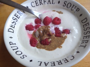 Greek yogurt, protein powder, raspberries, almond butter